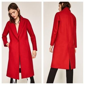 NWT Zara Red Long Wool Coat with Pockets